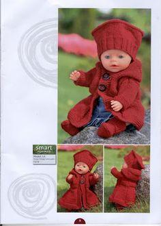 Album Archive - Dukketøj til Baby Born 2 - Ingelise Knitted Doll Patterns, Knitted Dolls, Baby Knitting Patterns, Crochet Patterns, Knitting Dolls Clothes, Doll Clothes Patterns, Baby Born Clothes, Knit Crochet, Crochet Hats