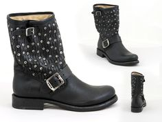 25 FRYE - Jenna cut stud short boot in stonewash leather, SKU: 0239790, $558 Contact BLU'S at shop@blus.com to order