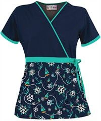 cutest scrub top, ever. Healthcare Uniforms, Scrubs Pattern, Nursing Wear, Icu Nursing, Nursing Shoes, Scrubs Uniform, Sewing Blouses, Medical Scrubs, Scrub Tops