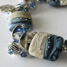 Lampwork beaded bracelet, denim blue and sand, silver bracelet, beaded jewelry...Forever in Blue Jeans
