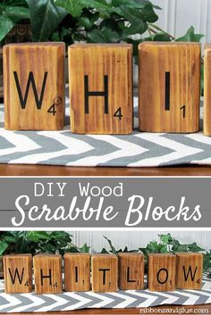 DIY Wood Scrabble Blocks personalized with vinyl lettering Great gift idea for any Scrabble Lover! Wood Block Crafts, Wood Blocks, Wood Crafts, Wood Projects, Diy Crafts, Creative Crafts, Woodworking Projects, Cute Home Decor, Home Decor Store