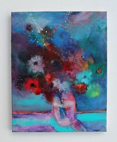Floral Still Life Painting Abstract by kerriblackmanfineart, $65.00