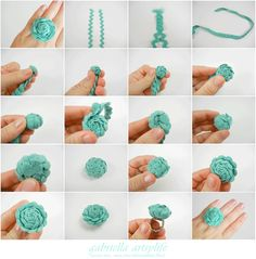 Ric-rac flower ring...love fashion rings, love this color...can't wait to try making one.+)