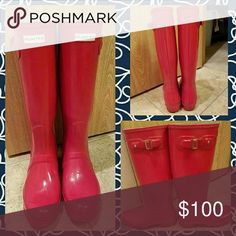 Red HUNTER ORIGINAL Rainboots Worn once and realized that they are just one size too big. Want to sell these or trade for a smaller size. Hunter Boots Shoes Winter & Rain Boots