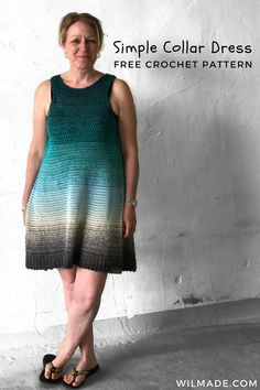 Simple Collar Dress - free crochet dress pattern by Wilmade - - Looking for a crochet dress pattern? Check out my Simple Collar Dress which is a beginner friendly pattern - including video - with a stunning result. Crochet Motifs, Knit Crochet, Crochet Patterns, Crochet Tutorials, Crochet Gifts, Sewing Tutorials, Knitting Patterns, Plus Zise, Black Crochet Dress