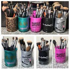 Items similar to Custom glitter makeup brush holders on Etsy Custom glass glitter makeup brush holders Custom color Custom design Makeup Jars, Diy Makeup Brush, How To Clean Makeup Brushes, Hair Makeup, Makeup Geek, Eyeliner Makeup, Diy Makeup Decor, Makeup Ideas, Makeup Crafts