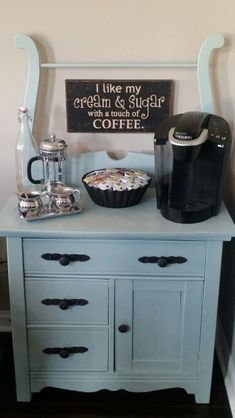 Coffee Bar   http://happycleanlife.com/my-cute-lil-coffee-bar-chalk-paint-makes-me-happy/