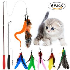 Tacobear 2 Piece Retractable Interactive Teaser Cat Wand 7 Refills Feathers, Cat Feather Toys For Cat >>> You can get additional details at the image link. #Cats