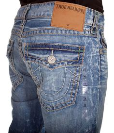True Religion Mens Jeans Size 34 1/2 Ricky with Flaps Super T in Artist Lab $358 #TrueReligion #ClassicStraightLeg