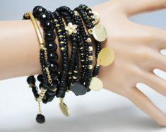 Black bracelet, Stretch Bracelet, Multi strand Bracelet, set of 10 black beads bracelet, Layered Bracelet, Gift for her
