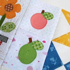 Blocks 137 and 138 - Peach and Pear applique for the Bee Happy sew-along.
