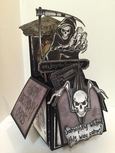 Grim Reaper Pop Up card in a box birthday card