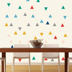 "Walls Need Love // Wall Decals - Crazy Circus Colors 5"" Triangle // 42 for 44 bucks"