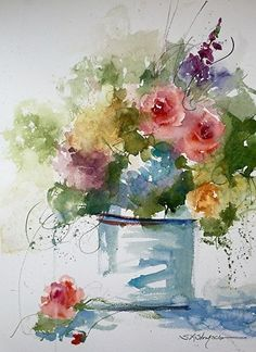 Floral at the Watermill by Sandy Strohschein Watercolor ~ 22 x 15