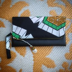 Fold Over Clutch Bag 'Flake 15' African Wax Print with Black Faux Leather Trim - 2015 Range (FLBL4) by ChangNoii on Etsy