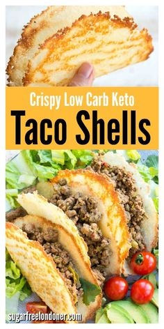 These are the crispiest low carb Keto taco shells you'll ever taste! They're easy and quick to make and contain only net carbs per shell. Load in your favourite taco filling and enjoy on Taco Tuesday! Only 3 ingredients, gluten free and low carb! Ground Beef Keto Recipes, Best Low Carb Recipes, Low Carb Dinner Recipes, High Protein Recipes, Beef Recipes, Cooking Recipes, Healthy Recipes, Snack Recipes, Dessert Recipes