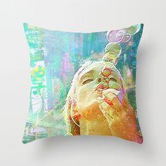 Soap bubbles  Girl Throw Pillow