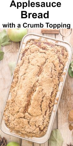 Nov 2019 - This easy Applesauce Bread is moist and delicious. Baked with a tasty cinnamon crumb topping it's sure to become one of your favourite fall recipes. Recipe Using Applesauce, Baking With Applesauce, Homemade Applesauce, Applesauce Recipes, Applesauce Bread Machine Recipe, Bread Machine Recipes, Quick Bread Recipes, Apple Recipes, Sweet Recipes