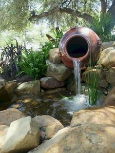 It's not difficult to create a waterfall pond feature rather than the conventional pond. With this small waterfall pond landscaping ideas you will inspired to make your own small waterfall on your home backyard. ** Read more at the image link. Outdoor Ponds, Ponds Backyard, Backyard Ideas, Modern Backyard, Outdoor Fountains, Garden Ponds, Pond Ideas, Backyard Waterfalls, Water Fountains