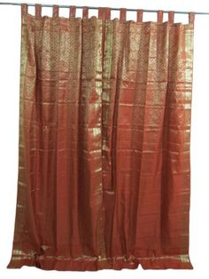 "India Curtains Window Treatment-2 Burnt Red Gold Brocade Silk Sari Drapes Curtain Panels 96"" by Mogul Interior, http://www.amazon.com/dp/B009SZZLTS/ref=cm_sw_r_pi_dp_8dbHqb04P99WX"