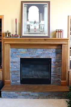 concrete fireplace hearth with wood inlay and surround concrete