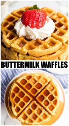 Buttermilk waffles are so easy to make from scratch - all you need is one bowl, a whisk, and a few everyday ingredients. Ditch the mix and give these homemade waffles a try! | www.persnicketyplates.com #breakfast #waffles #brunch #easyrecipe Waffle Recipe With Pancake Mix, Waffle Recipe From Scratch, Homemade Waffle Mix, Waffle Batter Recipe, Waffle Mix Recipes, Best Waffle Recipe, Homemade Waffles, Waffle Batter Mix, Kitchens