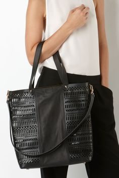 I need this sass & bide HALF THE DISTANCE laser-cut leather tote in my life.