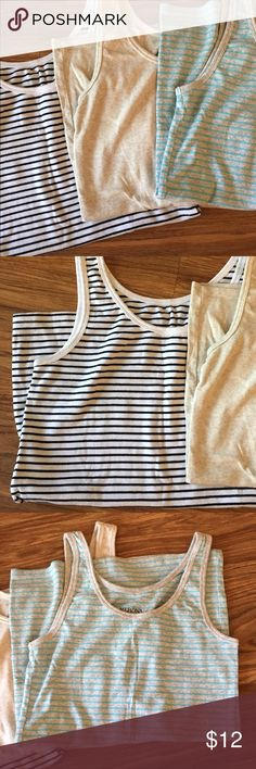 Set of 3 Merona basic tank top camis Three basic tanks/camis from Merona. All in excellent used condition, worn once or twice. Black and white is XL, but tan and blue grey stripe are L. All three come together! Merona Tops Camisoles