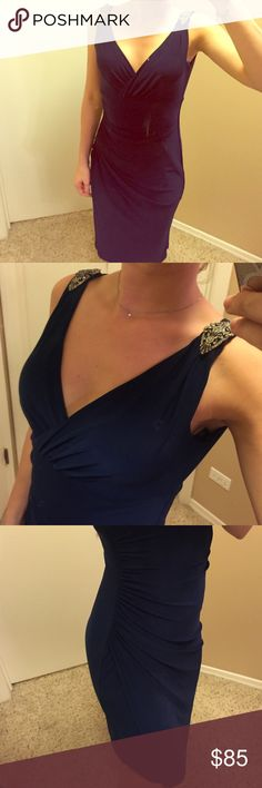 Beautiful Midnight Blue dress Details on shoulder straps. This dress was worn once! It's a beautiful color Ralph Lauren Dresses Midi