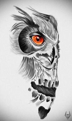 Orange-eyed owl and skull tattoo design Orange-eyed owl and skull tattoo design. - Orange-eyed owl and skull tattoo design Orange-eyed owl and skull tattoo design This image has - Owl Skull Tattoos, Animal Tattoos, Body Art Tattoos, Sleeve Tattoos, Tattoo Owl, Tatoos, Maori Tattoos, Skull Tattoo Design, Tattoo Designs