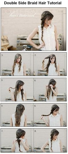 all of the steps to create a double braid hairstyle... - Click image to find more hair posts