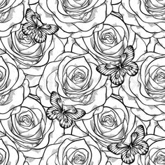 129 best black and white flowers background images on pinterest beautiful black and white seamless pattern in roses with contours hand drawn contour lines and strokes perfect for background greeting cards and mightylinksfo