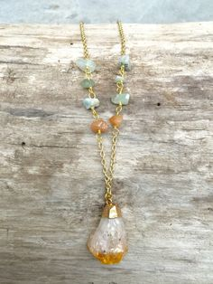 Raw Citrine Necklace by ValoisDesigns on Etsy