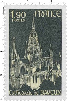 Cathedrale  Notre-Dame de  Bayeux. Post stamp printed by France,circa  1977