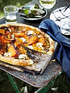 Australian Gourmet Traveller recipe for Pumpkin, goat's curd and thyme tart Quiches, Goats Curd, Rough Puff Pastry, Pumpkin Tarts, Picnic Foods, Picnic Recipes, Picnic Ideas, Picnic Snacks, Picnic Dinner