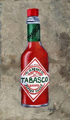 Tabasco Hot Sauce Canvas Print / Canvas Art by Elaine Hodges Tabasco Hot Sauce, Louisiana Art, Door Paint Colors, Animal Silhouette, Simple Prints, Moon Art, Paint Party, Painting Inspiration, Vintage Posters