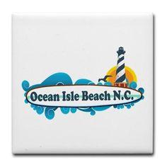 Ocean Isle Beach NC - Surf Design. Tile Coaster on CafePress.com