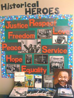 Bulletin board for either black history month, with a few tweaks, or martin luther king day #daycare #schoolage #info_board