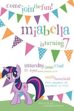 My Little Pony Twilight Sparkle Theme - Birthday Invitation- DIY Printable Invitation - By Cici and Bobo