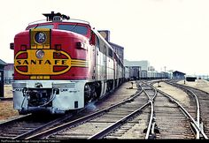 Santa Fe's eastbound Mail Train 4 behind four Alco PA's pauses at Wichita, Kansas before rushing onward to Kansas City.