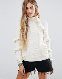 Glamorous Cable Knit High Neck Sweater With Ruffle Detail #ootdmagazine #fashion #style #ootd #ootn #fashionblogger #fashionblog #streetstyle #streetwear #streetlook #classic #simple #love #beauty #glam #chic #beautyblogger #beautyblog #travel #travelblog #travelblogger #makeup #makeupartist #hair #allgorgeous #outfit
