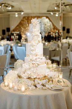 real wedding photo at four seasons los angeles at beverly hills wedding cake white fondant sugar flowers gold bands on table White And Gold Wedding Cake, White Gold, Romantic Weddings, Real Weddings, 5 Tier Wedding Cakes, Chuppah, Wedding Cake Inspiration, Sugar Flowers, Floral Centerpieces