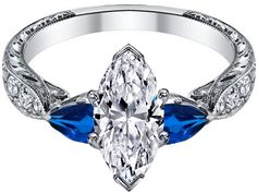 Marquise diamond Engagement Ring Blue Sapphire Pear side stones Hand engraved White Gold band