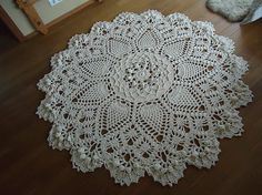 Beige Giant Crochet Doily Rug, floor rug, large area round rug, Rustic chic home decor 79 inc