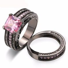 Pink Square crystal Ring