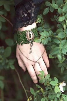 Inspired by the magical beauty of a Victorian secret garden . This lace wrist cuff is made to match the Secret Garden lace necklace, and is Nature Secret, Key Bracelet, Cuff Bracelets, Gothic Garden, Jewelery, Jewelry Box, Fairy Tales, Vintage, Pretty