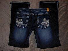 Maurices Jeans (Women's Pre-owned Slim Flare Dark Denim Designer Jean Pants)