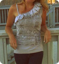 Use those old Tees....... J.Crew inspired Ruffled T-Shirt Tank TUTORIAL. Cute!!