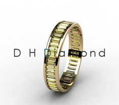 Channel Set Baguette Colure Diamond Eternity Ring , 14k White Gold or Yellow or Rose. USD 1060. (IND Rs. 70,000/-).