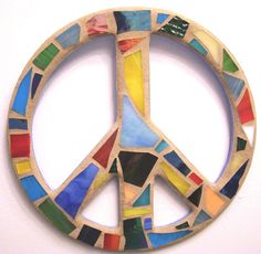 Stained Glass Peace Sign / Peace Sign Wall Art by breakitupdesigns